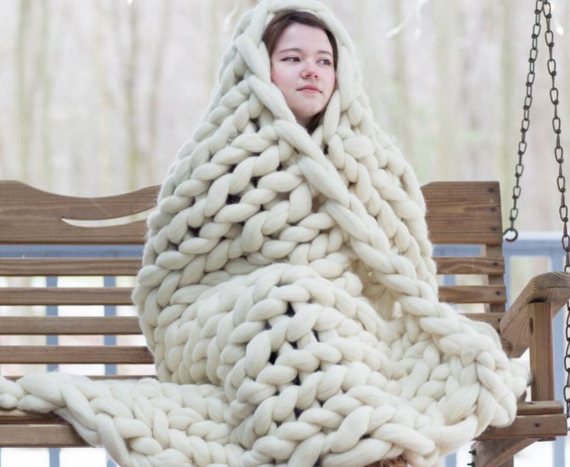 Chunky Knit Wool Blanket