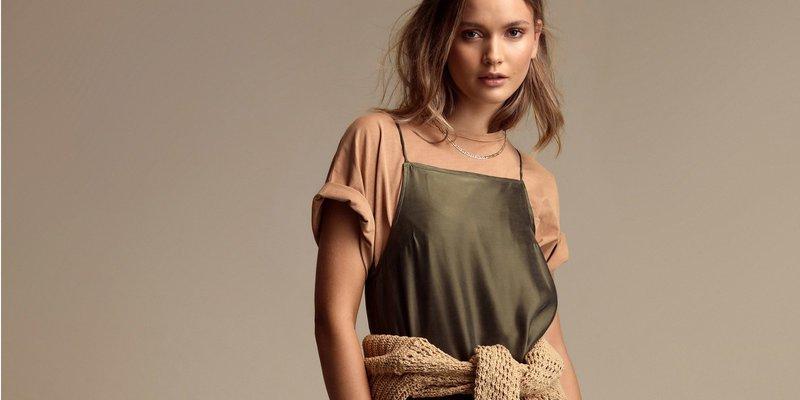 Flannel Shirts Tied Around Slip Dress